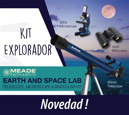 Meade Kit Explorador - Telescopio + Binocular + Microscopio Mod. Earth & Space Lab